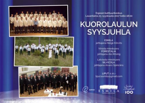 Viron ja Latvian Metsämies-kuorot saapuvat Suomeen konsertoimaan 23.9.
